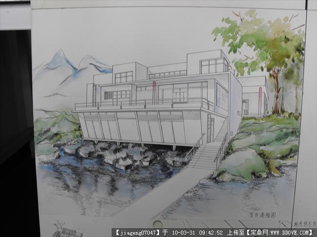 临水建筑手绘效果图