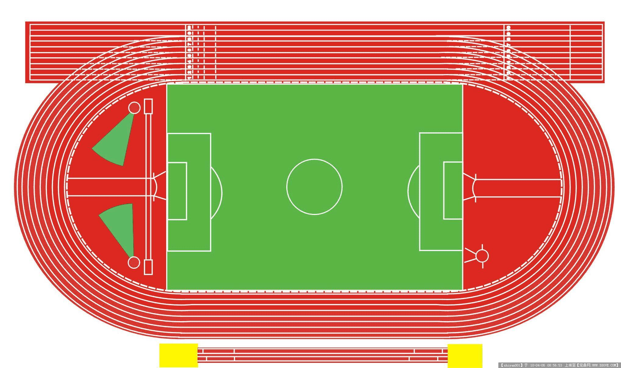 一学校设计的田径运动场平面图-400米田径运动场效果图