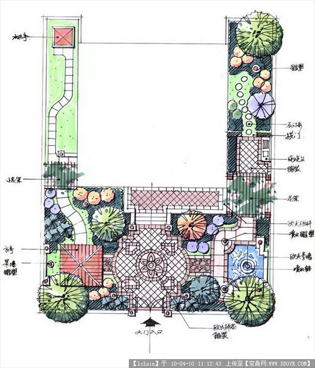 一组景观别墅手绘图