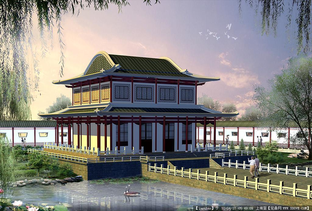 中国古建筑效果图_手绘艺术古建筑效果图作品