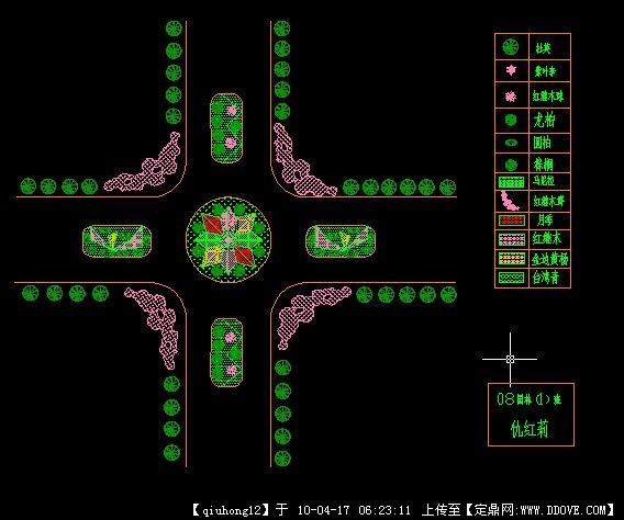 十字路口交通岛cad设计图