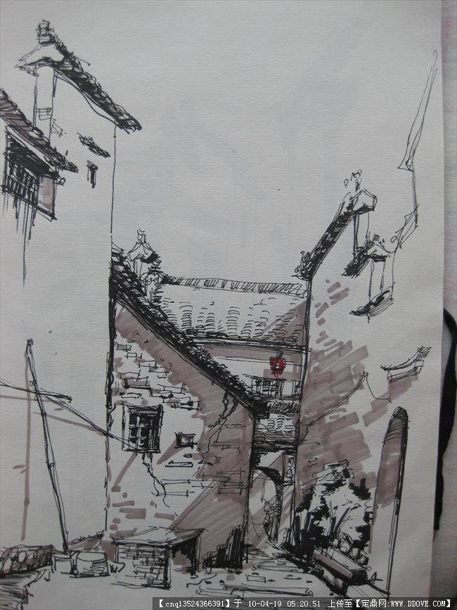 乡村风貌 手绘图
