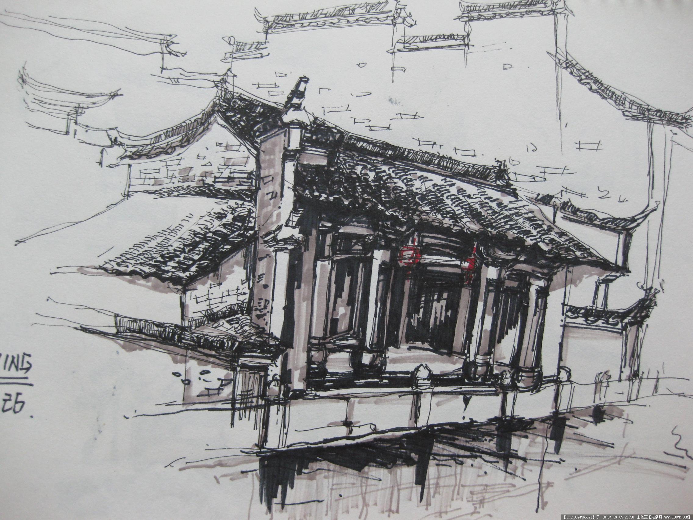 古代建筑素描一幅; 宏村手绘写生10张-大图; 宏村手绘图-img_0898.