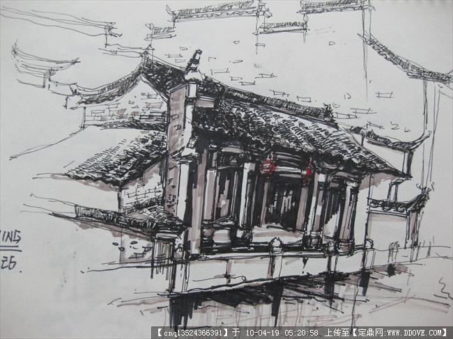宏村手绘写生10张-大图的图片浏览,建筑效 果图,手绘