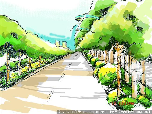 道路绿化局部手绘效果图的图片浏览,园林效 果图,手绘图片