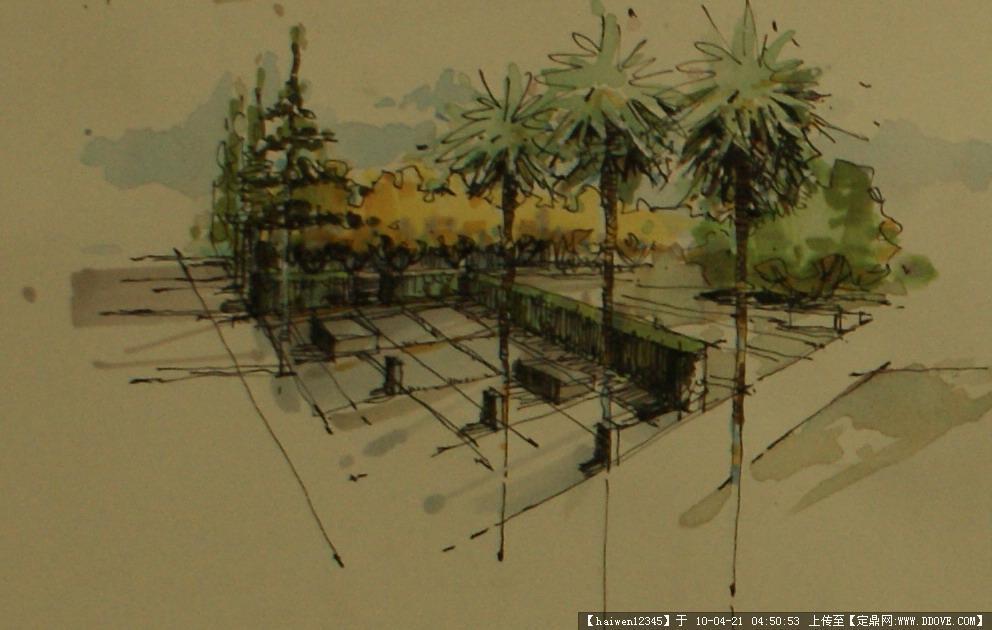 外部空间设计手绘方案两张-校园绿地