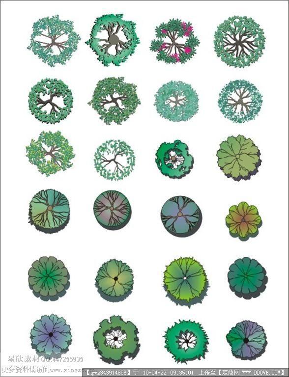 设计素材-植物彩平图例图片