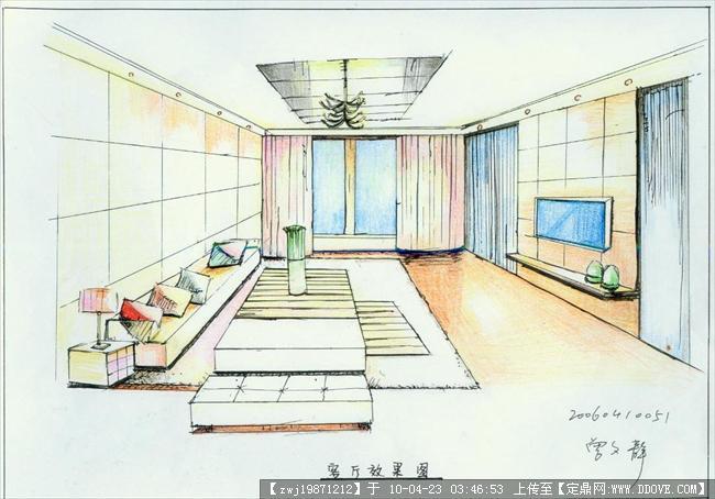 一点室内客厅手绘图 室内设计客厅手绘图; 一点透视客厅手绘图图片