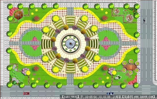 园林广场平面图,园林手绘平面图,园林规划设计平面图_点力图库