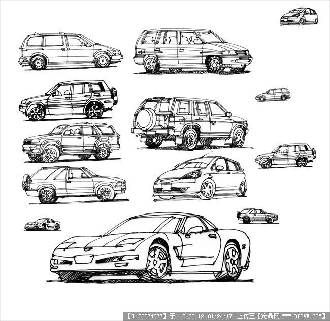 手绘 车模型的图片浏览,配景素材,交通工具,园林建筑