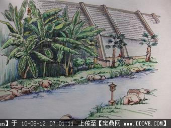彩铅手绘的图片浏览,园林效