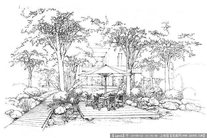 园林效 果图,手绘效果,园林景观设计施工图纸资料下载_定鼎园林