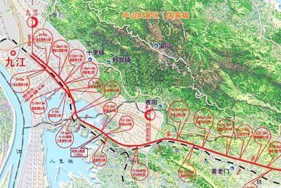 昌九城际铁路九江段轨道交通线路平面示意图; 京津城际铁路线路图