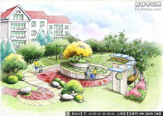 住宅小区的景观手绘图集合的图片浏览,园林效 果图,,.