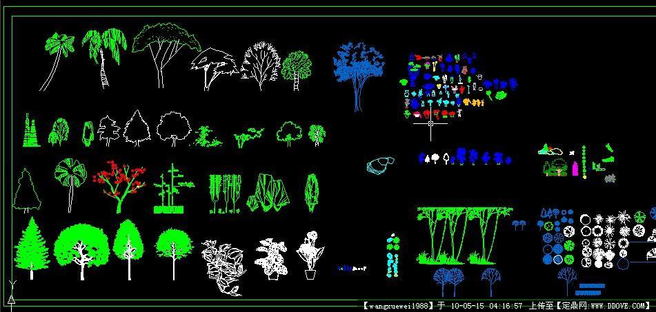 cad常用树木立面图