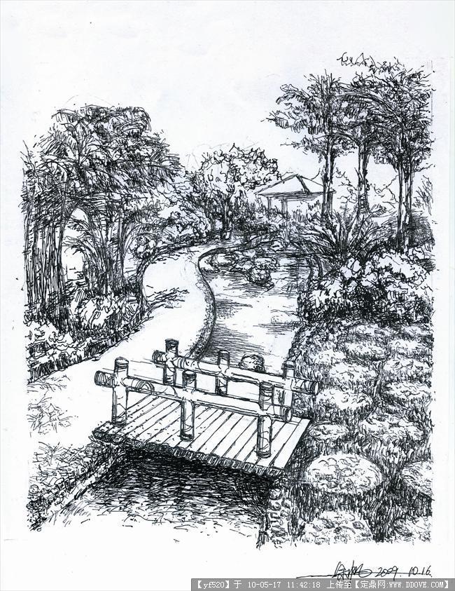 风景园林素描三视图