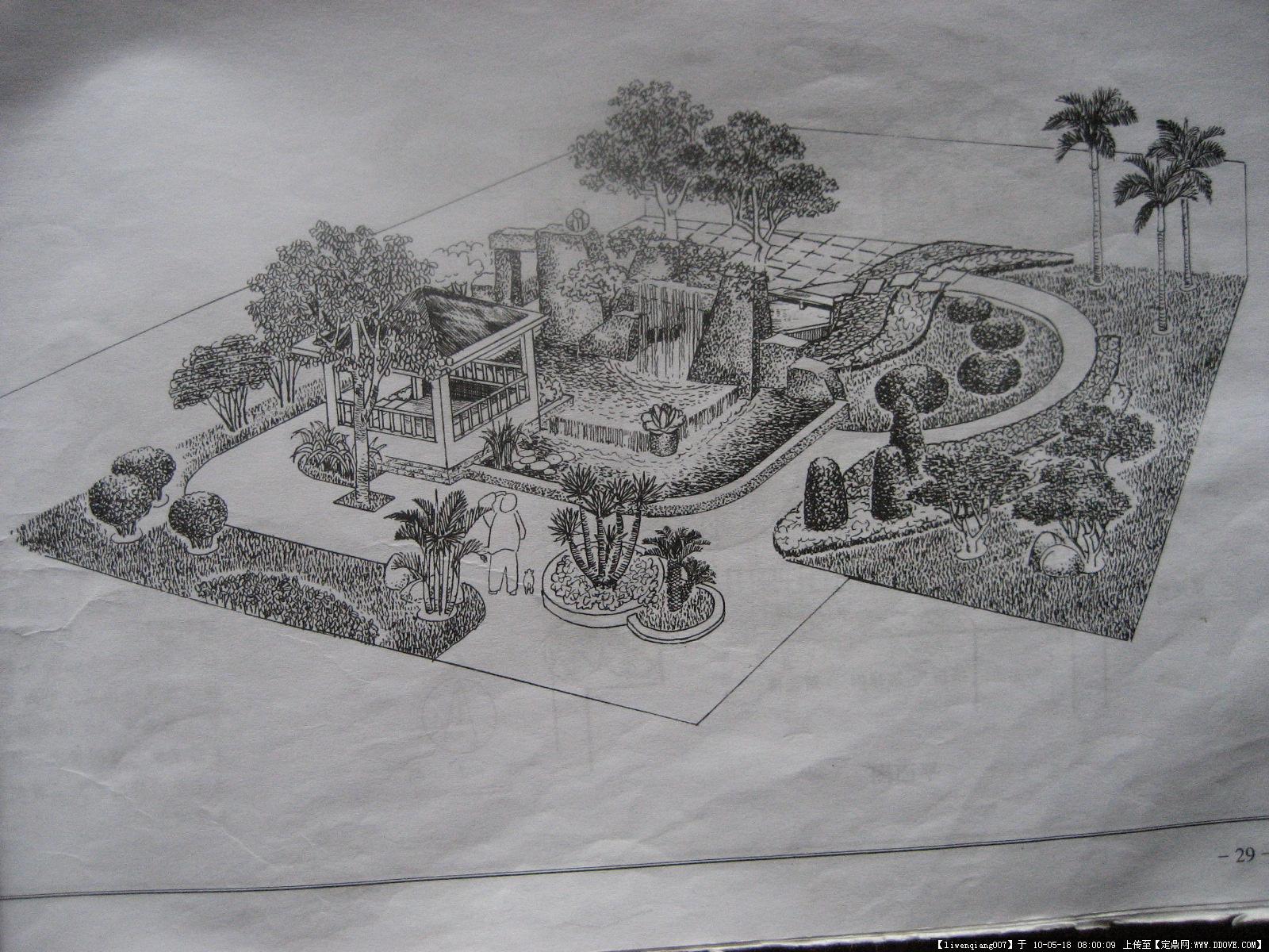 手绘独立庭院素描画