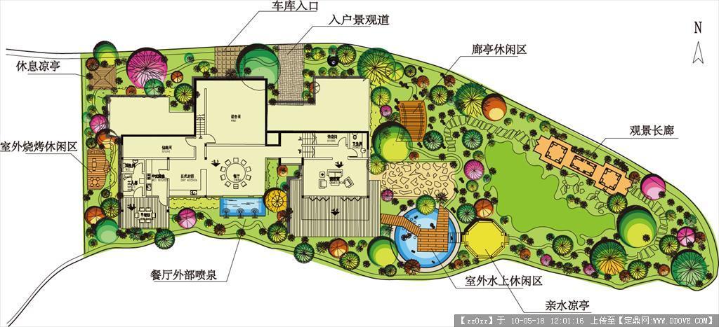 花园别墅植物配置cad平面图 平面效果图