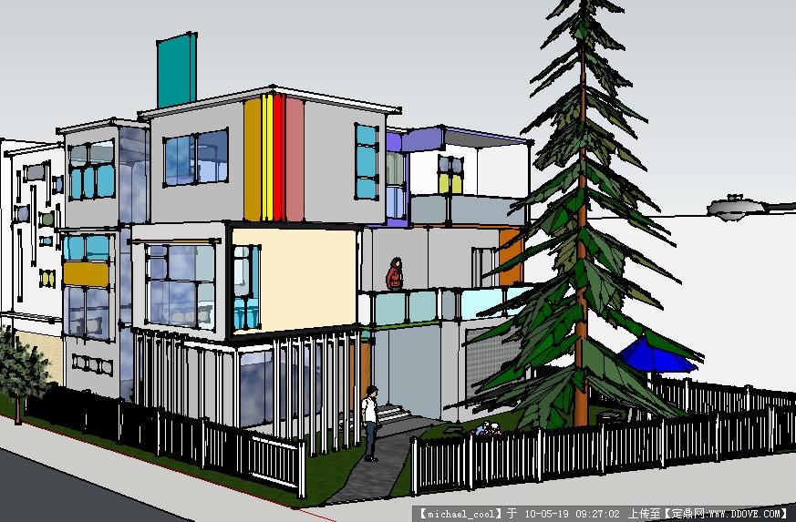 一个别墅设计的sketchup效果图图片