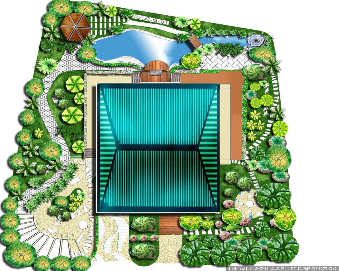 某别墅庭院平面效果图的图片浏览,园林方案设计,花园