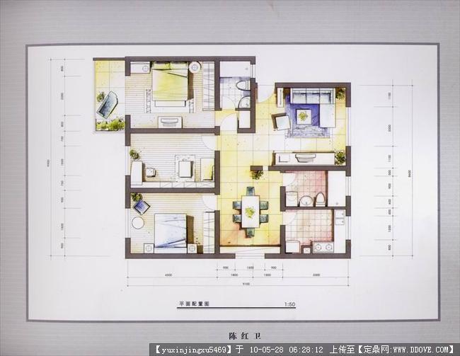 室内手绘效果图-平面户型一张的