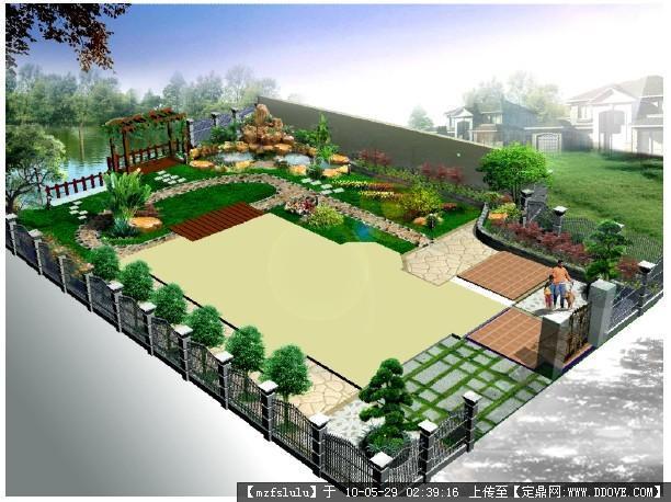 某私家别墅花园设计-鸟瞰效果图一张