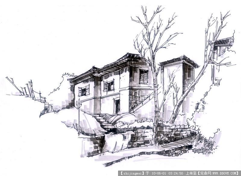 庐山风景园林手绘线稿