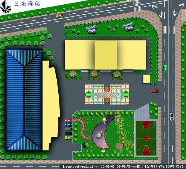 某单位建筑绿地划平面效果图