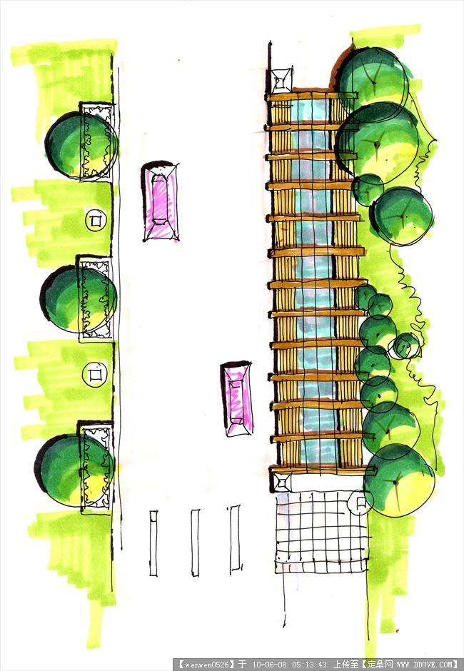 果图 手绘效果 钢笔画速写3张; 马克笔 速写  (650x940); 小广场园林