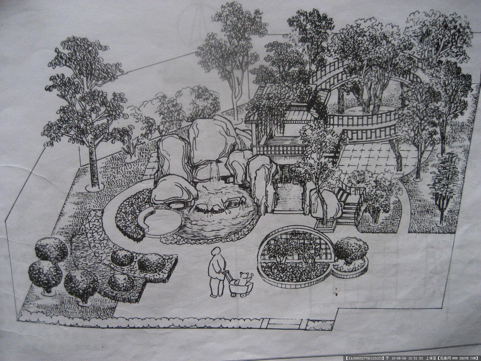 法式庭院手绘线稿