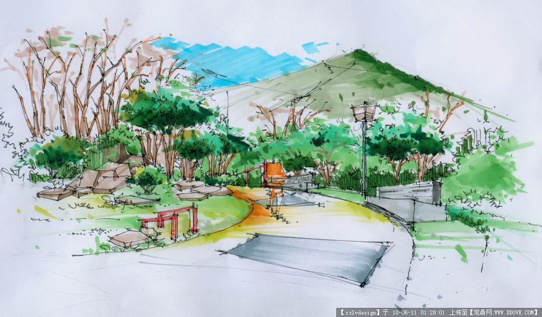 公园一角手绘效果图公园一角风景简笔画