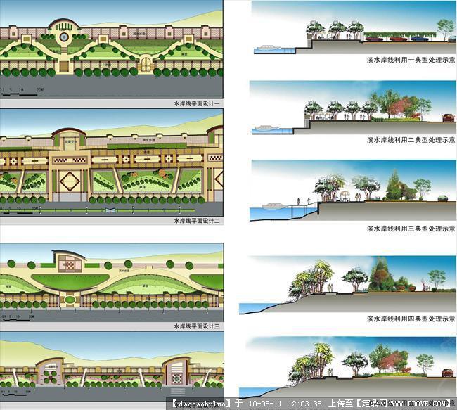 滨水岸线景观设计(四种滨水岸线的平面设计图,五种岸
