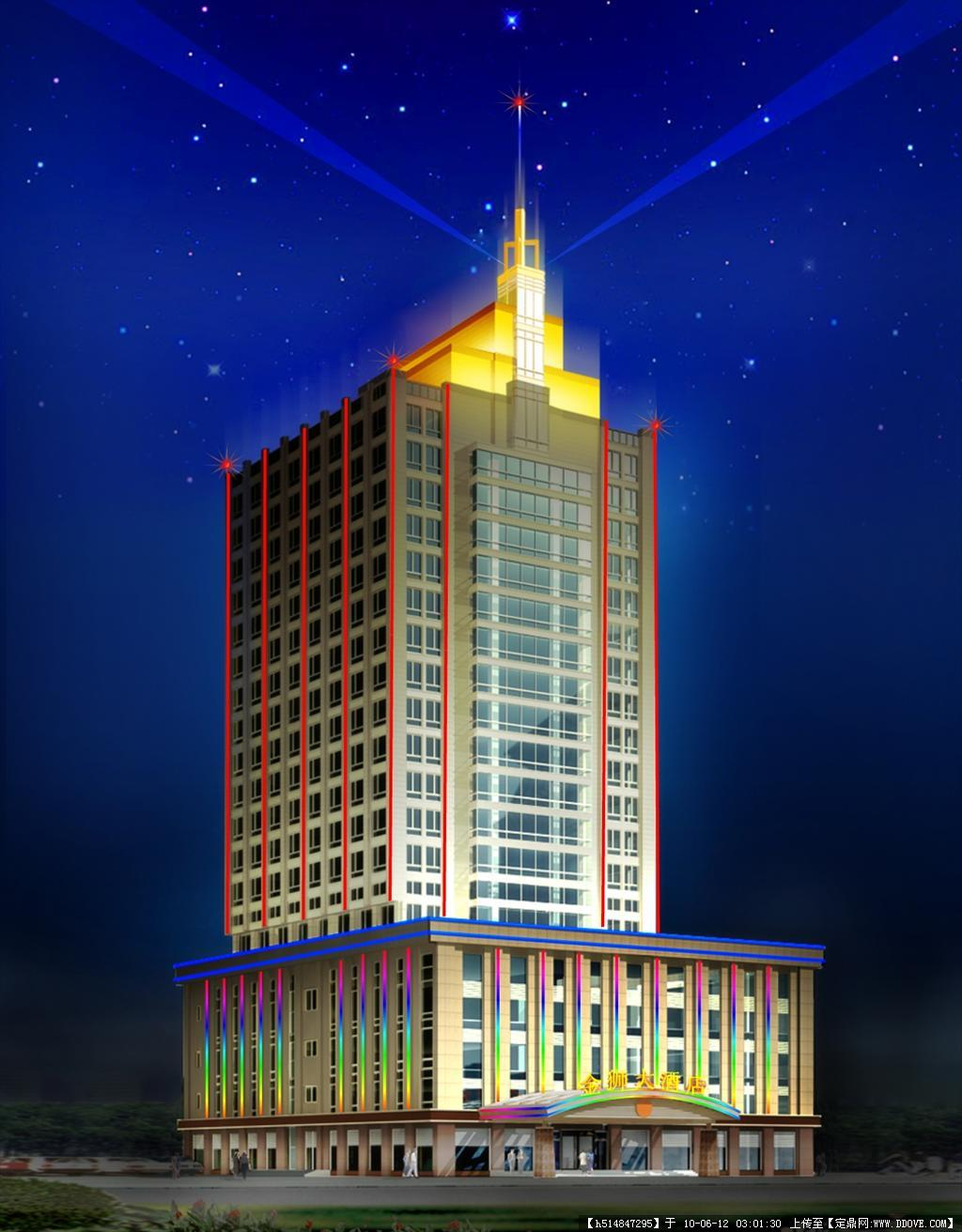 湖北金狮宾管大楼夜景动画效果图(可做素材)