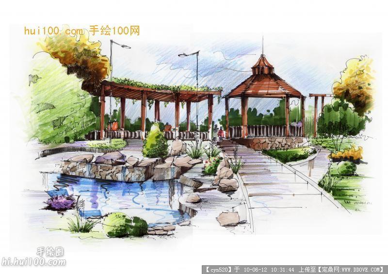 马克笔手绘效果几张的图片浏览,园林效 果图,手绘效果