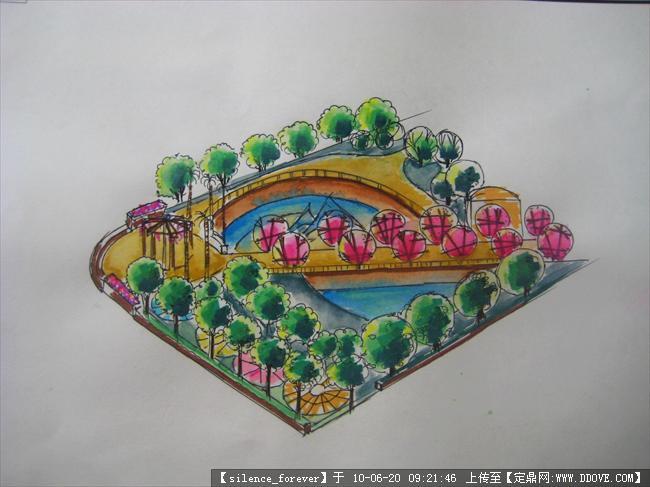 公园手绘鸟瞰图一张的图纸v公园,园林效果图,公服装纸模图片图片