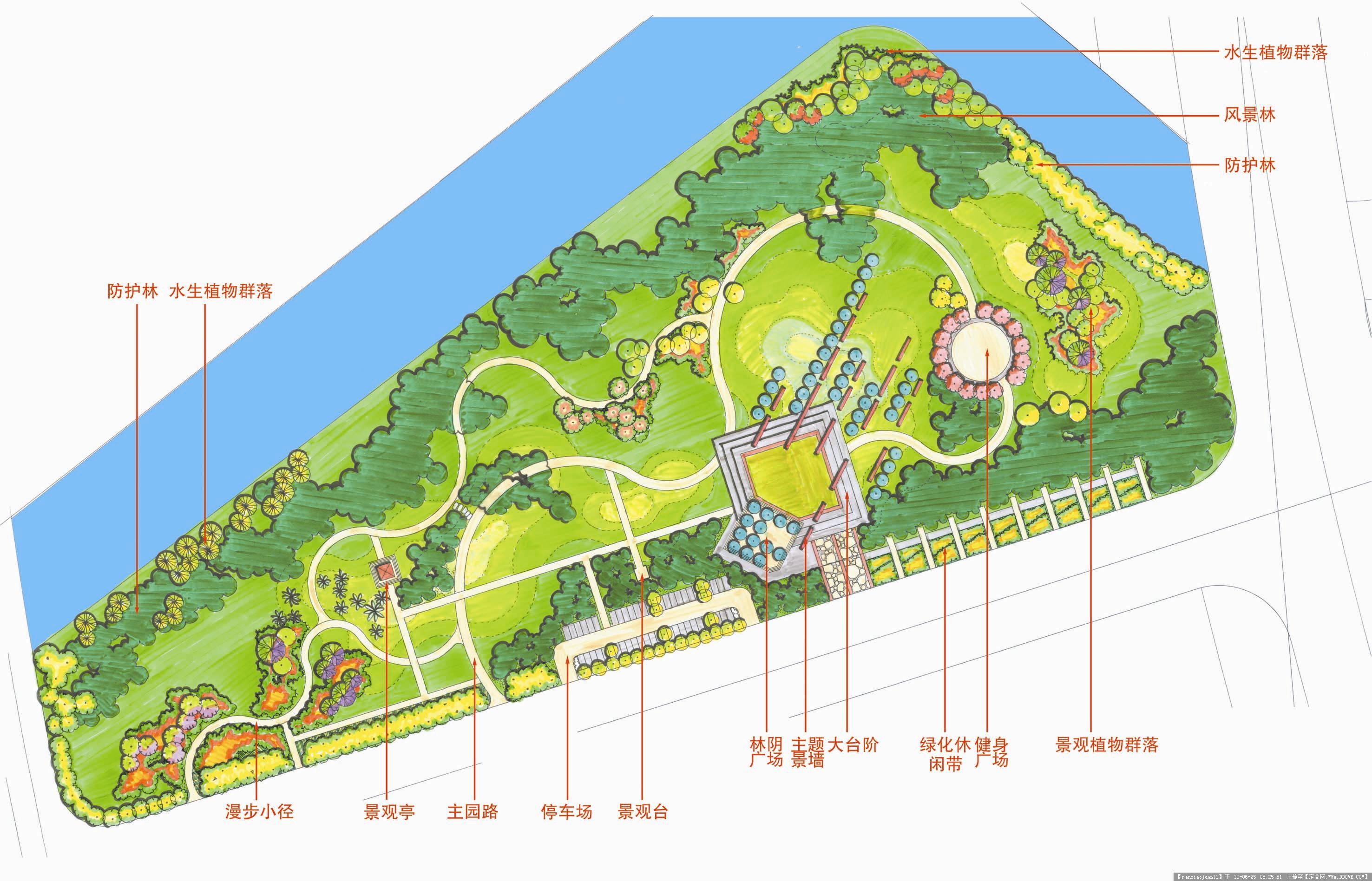 公园沿河景观平面图_平面设计图