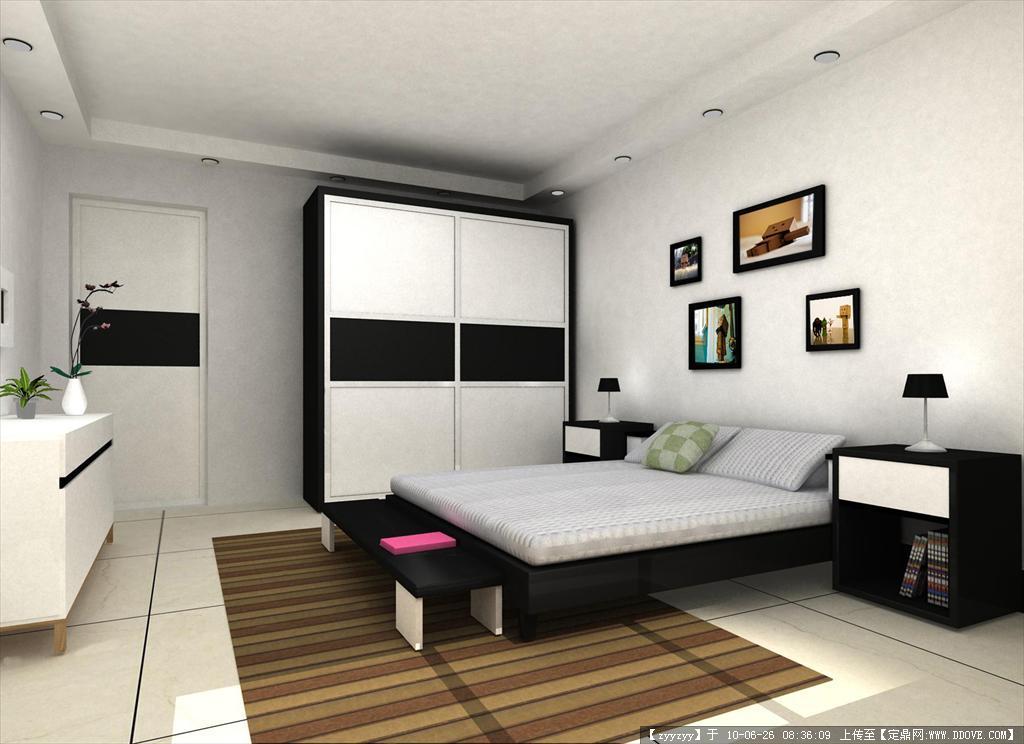 室内卧室3d效果图建模图片