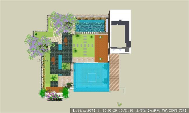 一个屋顶花园的平面图