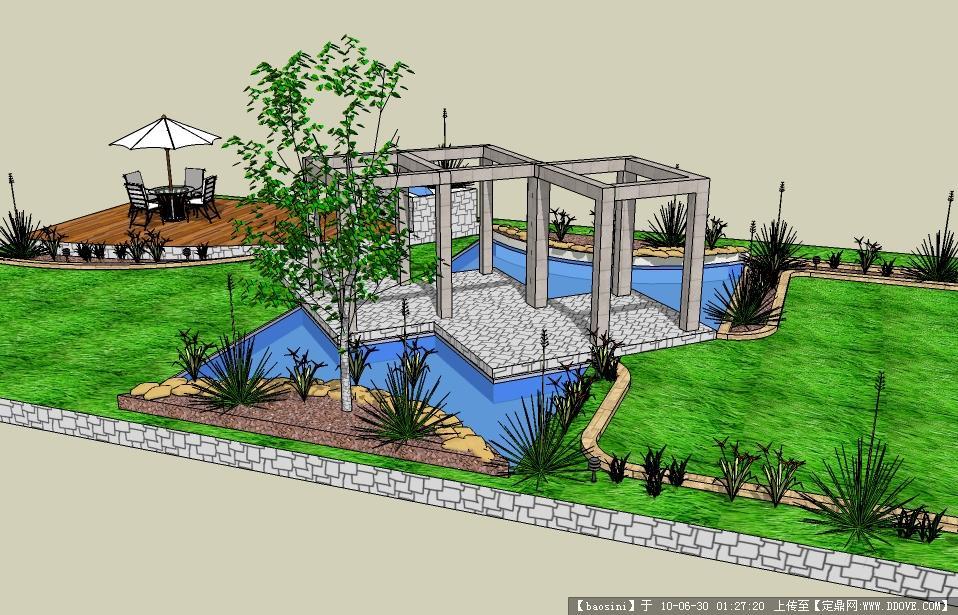 园林景观设计-一个休闲广场su场景