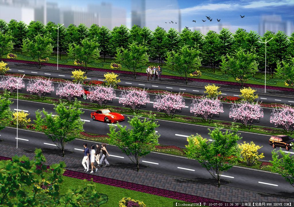 道路绿化效果图psd文件1