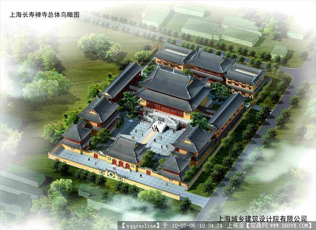 上海长寿禅寺建筑方案(中国古建 cad 整体鸟瞰图 3dmax)