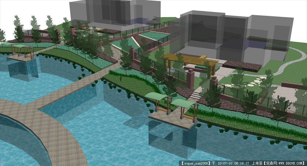 湖面堤岸设计图片