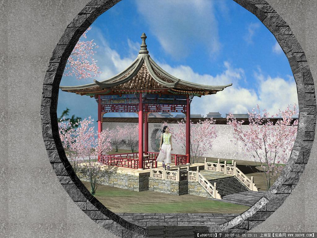 景观小品 亭子 (包括3d模型 效果图)