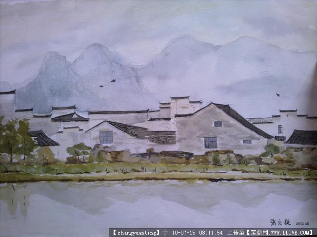 徽派建筑水彩手绘
