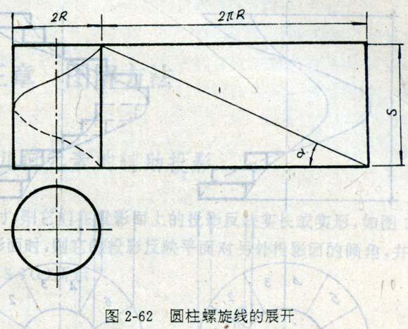工程制图圆柱螺旋线和螺旋面投影的详细内容,园林景观设计施工图纸图片
