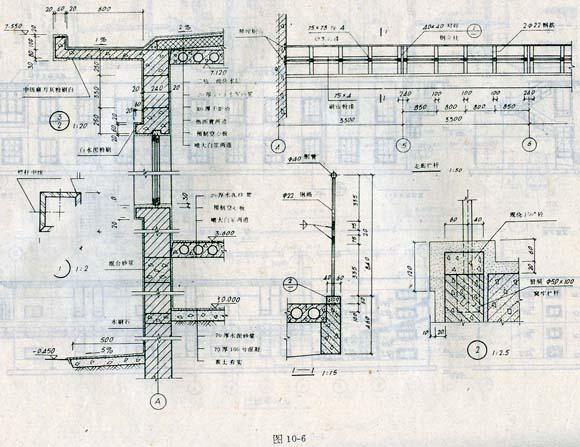 在建筑剖面图中,室内外地面画加粗线。楼板层和屋顶层在1:10。的剖面图中可只画两条粗实线:剖到的墙身轮廓也用粗实线。在1: 50的剖面图中,墙身另加绘细实线表示粉刷层的厚度,并在结构层上方加画一条中粗线作为面层线,例如楼地面的面层。其它可见轮廓,如门窗洞、楼梯栏杆、内外墙轮廓线、踢脚线等画成中粗线。门窗扇及其分格线等用细实线。 剖面图的比例和材料图例的画法与平面图相同。 剖面图一般只标注剖到部分的尺寸,外墙尺寸一般标三道。第一道尺寸为门窗洞和洞间墙的高度尺寸。第二道尺寸是层高尺寸,一般标注室外地面到室内