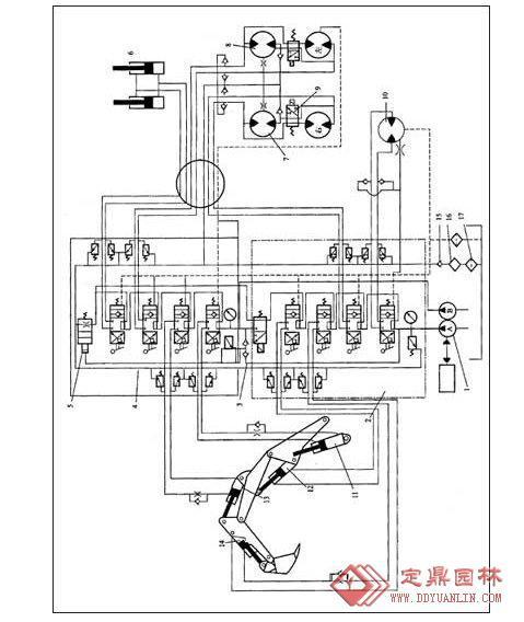 挖掘机的液压系统的详细内容,园林景观设计施工图纸